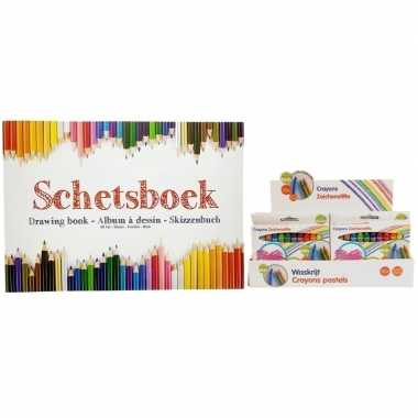 Kinder teken & schets boek a4 inclusief waskrijtjes 12 stuks