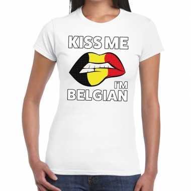 Kiss me i am belgian t-shirt wit dames