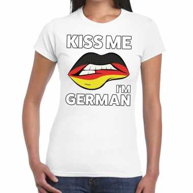 Kiss me i am german t-shirt wit dames