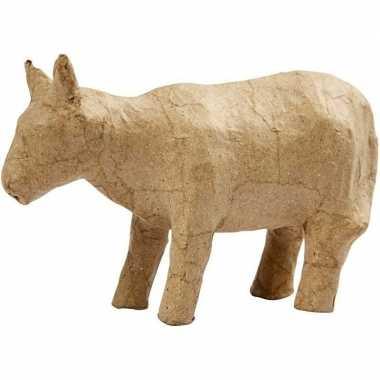 Koeien van papier mache om te schilderen 13 cm