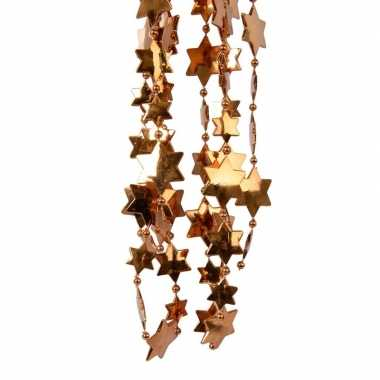 Koper bruine kerstversiering ster kralenslinger 270 cm