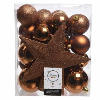 Koper kerstballen pakket met piek 33 stuks