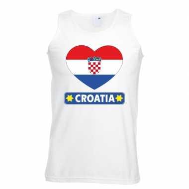Kroatie hart vlag singlet shirt/ tanktop wit heren