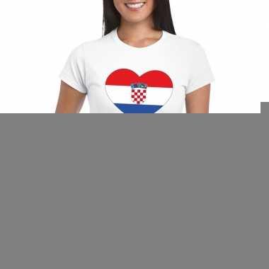 Kroatie hart vlag t-shirt wit dames