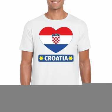 Kroatie hart vlag t-shirt wit heren