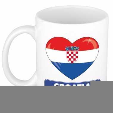 Kroatische vlag hartje theebeker 300 ml