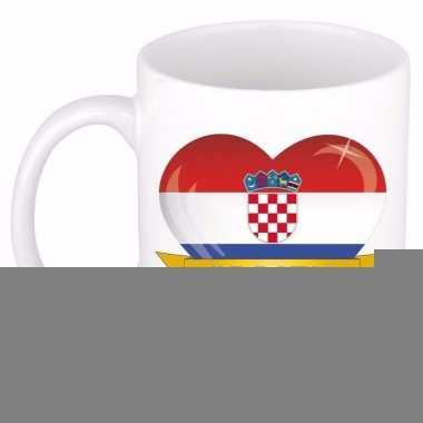 Kroatische vlag hartje theebeker type 2 300 ml