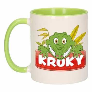 Krokodillen theebeker groen / wit kroky 300 ml