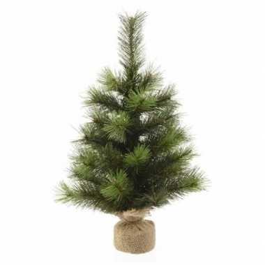 Kunst kerstboom groen in jute zak 45 cm