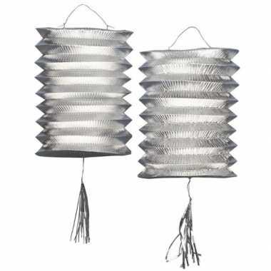 Lampion zilver 2 stuks 25 cm