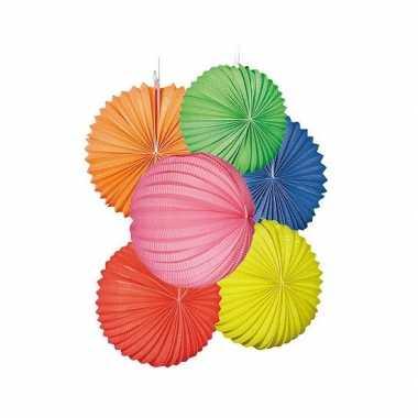 Lampionnen pakket gekleurd 22 cm