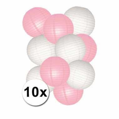 Lampionnen versiering set roze/wit