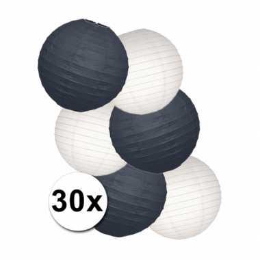 Lampionnen versiering set zwart/wit