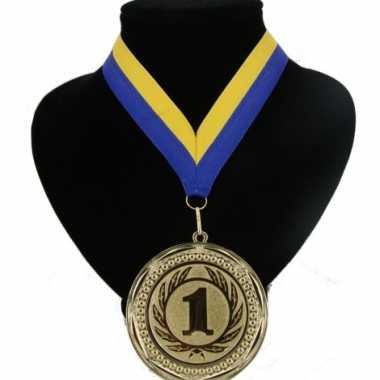 Landen lint nr. 1 medaille geel en blauw