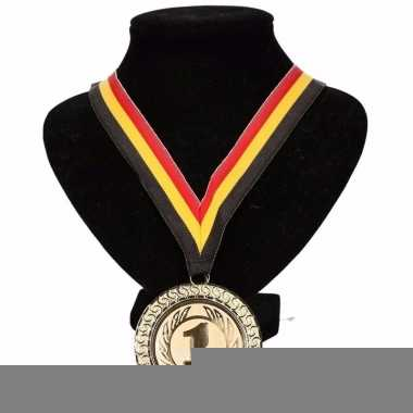 Landen lint nr. 1 medaille geel/rood/zwart