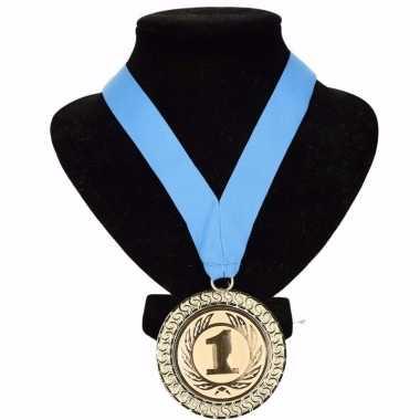 Landen lint nr. 1 medaille lichtblauw