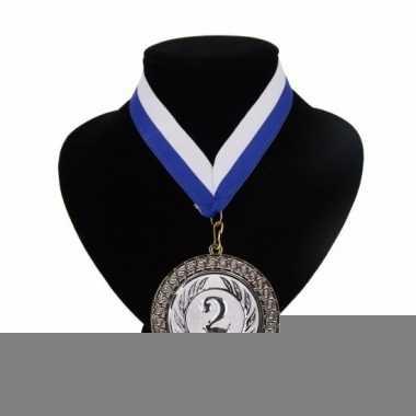 Landen lint nr. 2 medaille wit en blauw