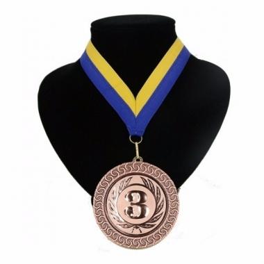 Landen lint nr. 3 medaille geel en blauw