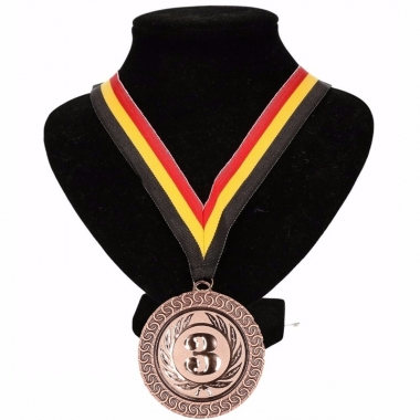Landen lint nr. 3 medaille geel/rood/zwart