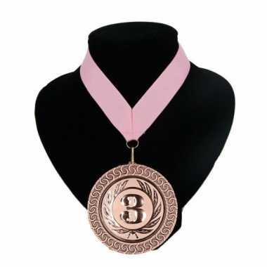 Landen lint nr. 3 medaille licht roze