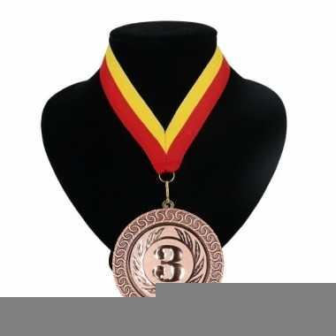 Landen lint nr. 3 medaille rood geel