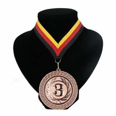 Landen lint nr. 3 medaille rood geel zwart
