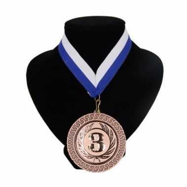 Landen lint nr. 3 medaille wit en blauw
