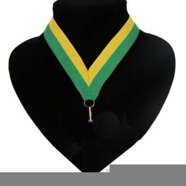 Landen lint voor medaille groen geel