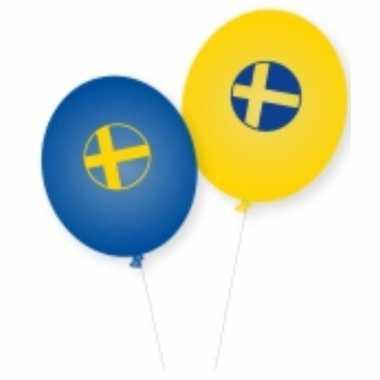 Landen thema versiering zweden ballonnen 8 stuks
