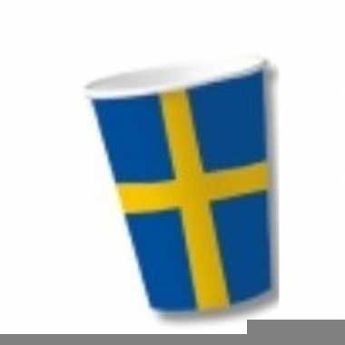 Landen thema versiering zweden bekers 10 stuks