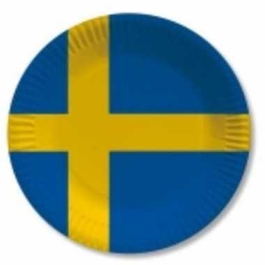 Landen thema versiering zweden wegwerp borden 10 stuks