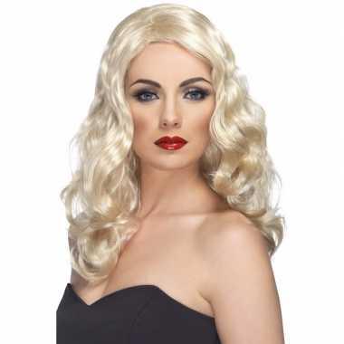Lange blonde damespruik met krullen