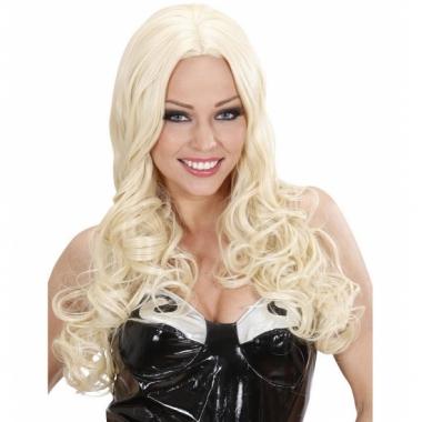 Lange blonde pruik met krullen