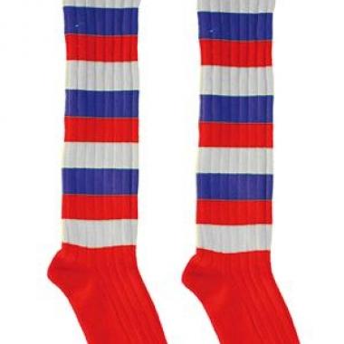 Lange feest sokken rood/wit/blauw