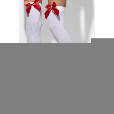 Lange witte kousen met rode strik