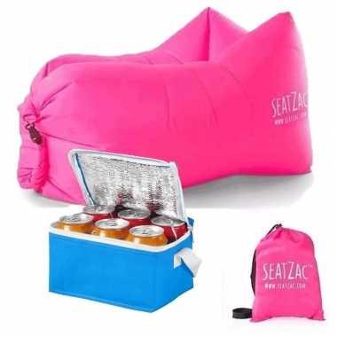 Lazy zitzak lucht stoel in het roze inclusief mini koeltas