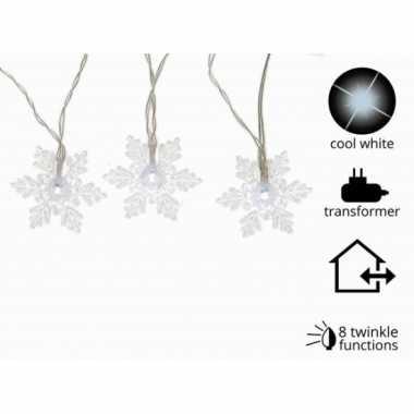 Led verlichting sneeuwvlok koud wit knipper 24 lampjes