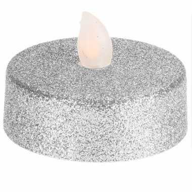 Led zilveren flakkerende theelichtjes 2 stuks