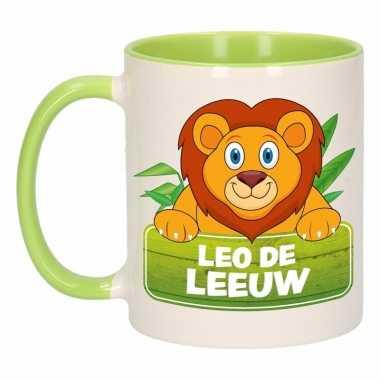 Leeuwen theebeker groen / wit leo de leeuw 300 ml