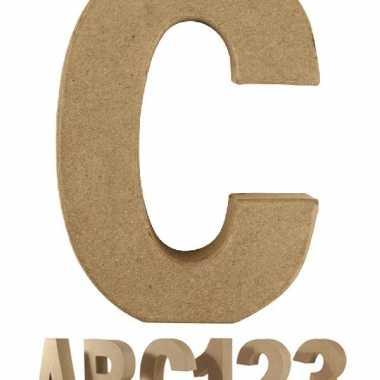 Letter c van papier mache onbeschilderd