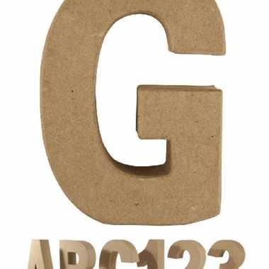 Letter g van papier mache onbeschilderd