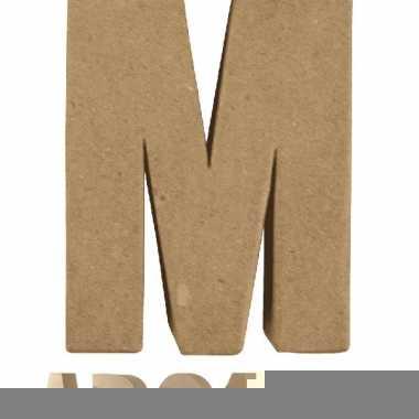 Letter m van papier mache onbeschilderd