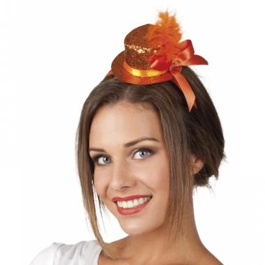 Leuke tiara met oranje glitterhoed