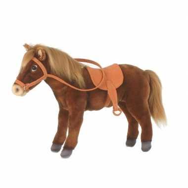 Levensechte hansa pluche paard met zadel knuffel 37 cm