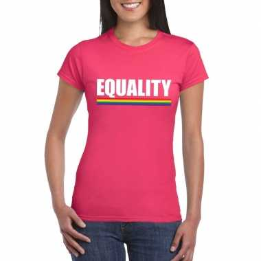 Lgbt shirt roze equality dames
