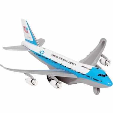 Lichtblauw speelgoed vliegtuig met licht en geluid voor kinderen