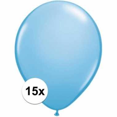 Lichtblauwe decoratie ballonnen 15 stuks