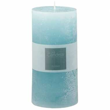 Lichtblauwe rustieke stompkaars 14 cm