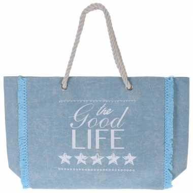 Lichtblauwe strandtas met tekst 43 cm