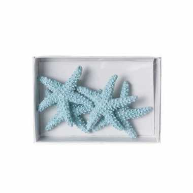 Lichtblauwe zeester decoratie 4,5 cm 4st